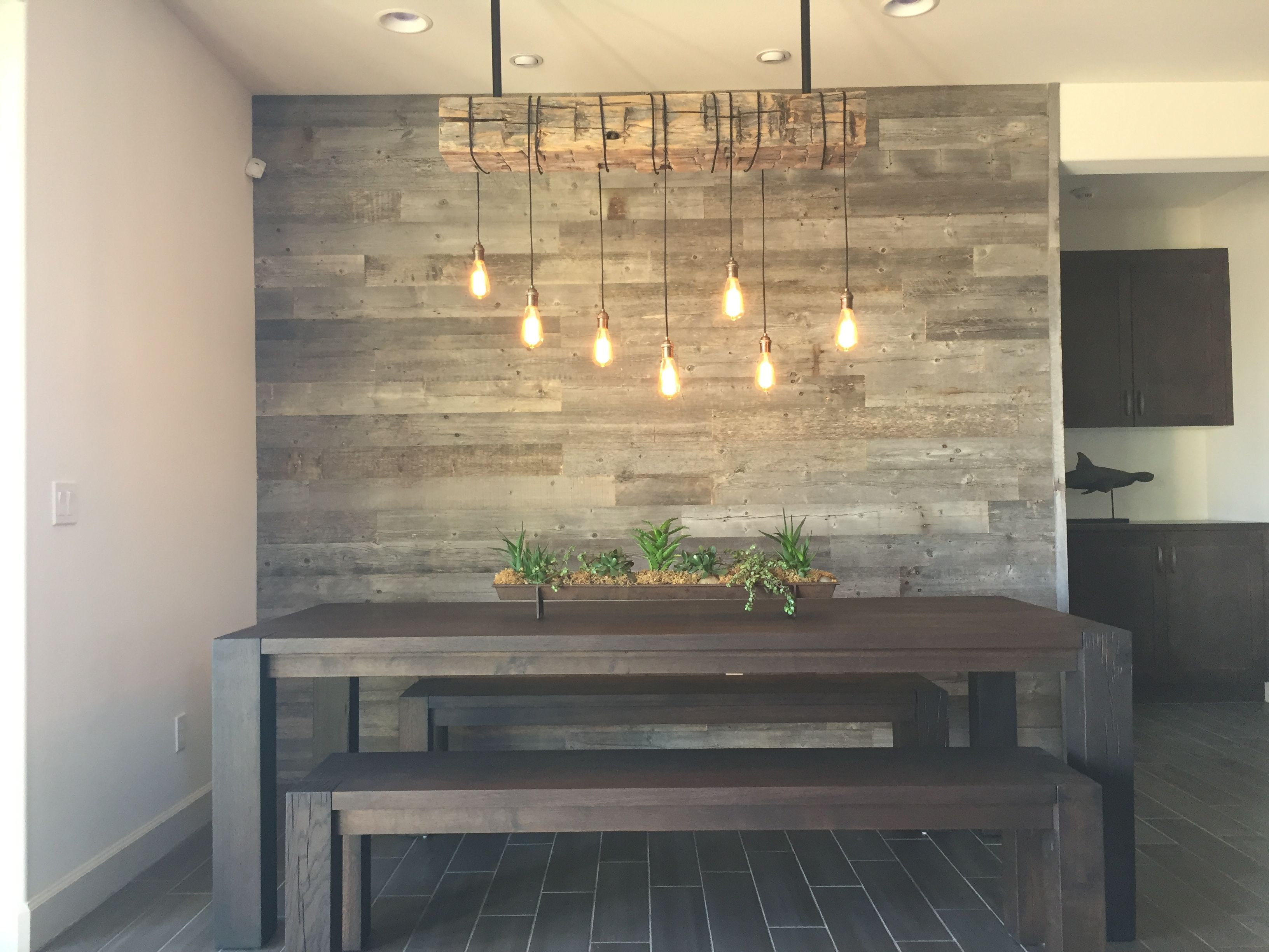 Reclaimed Wood Accent Wall Wood From Recwood Planks In Big Sky Grey Https Emf Rustic Dining Room Lighting Accent Walls In Living Room Wood Walls Living Room #wooden #wall #designs #living #room