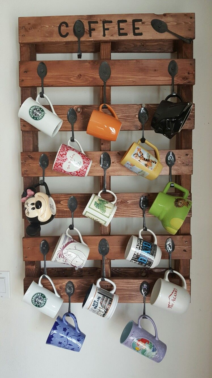 Pallet Coffee Cup Holder Pallet Diy Coffee Cup Holder Coffee Kitchen