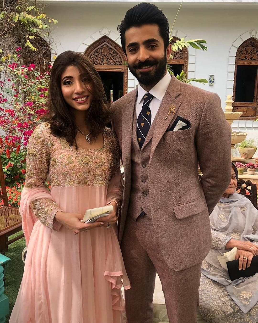 Shehryar Munawer With His Fiance Hala Somroo At Their Engagment Celebrities Formal Dresses For Weddings Celebrity Weddings