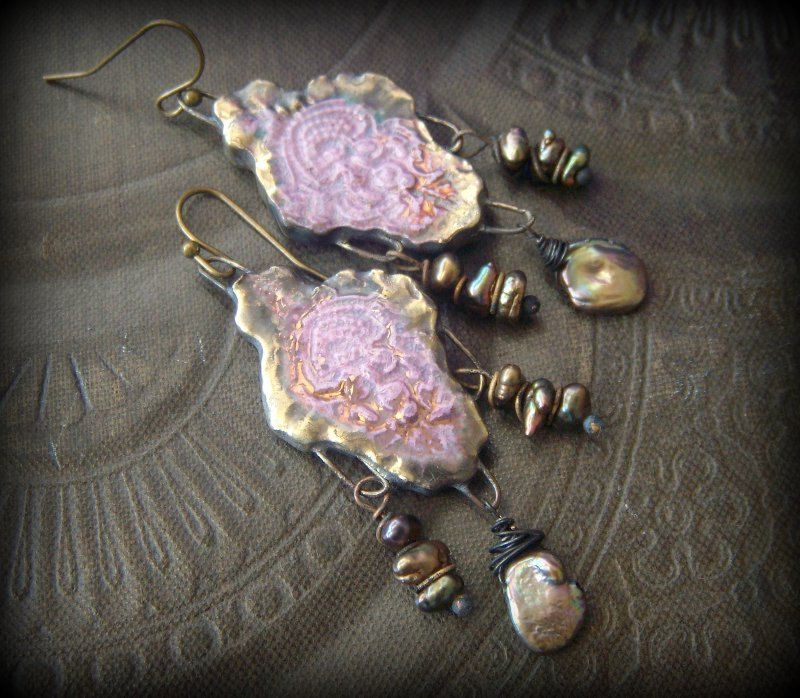 Porcelain, Filigree Droplets, Lavender, Gypsy, Lacey ,Pearl, Rustic, Tribal, Beaded Earrings by YuccaBloom on Etsy