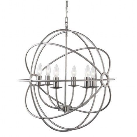 Luminaire suspendu en sph re argent bross avec chandelier 6 bras l 39 int rieur parfaitement - Luminaire suspendu chambre a coucher ...