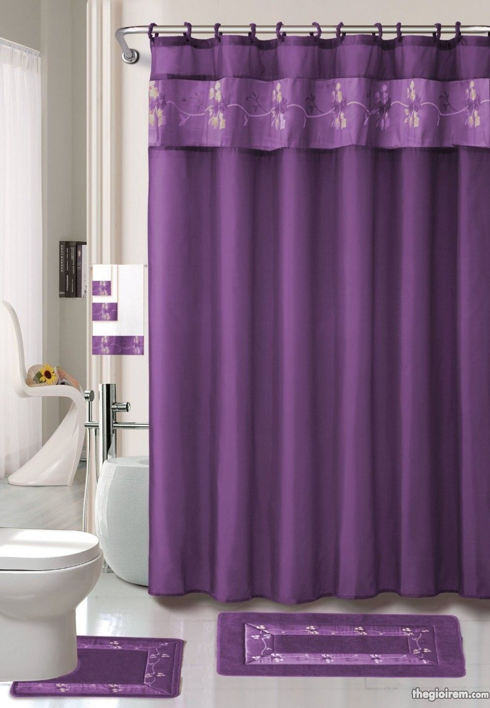 TRANG TRÍ RÈM CỬA MÀU TÍM HIỆN ĐẠI VÀ QUYẾN RŨ CHO PHÒNG TẮM Tin - Burgundy shower curtain sets