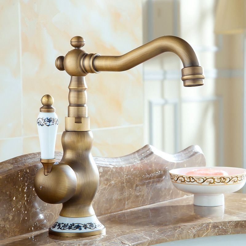 Blue And White Porcelain Kitchen Faucet 360 Swivel Retro Mixer Tap Brilliant Kitchen Taps Decorating Design