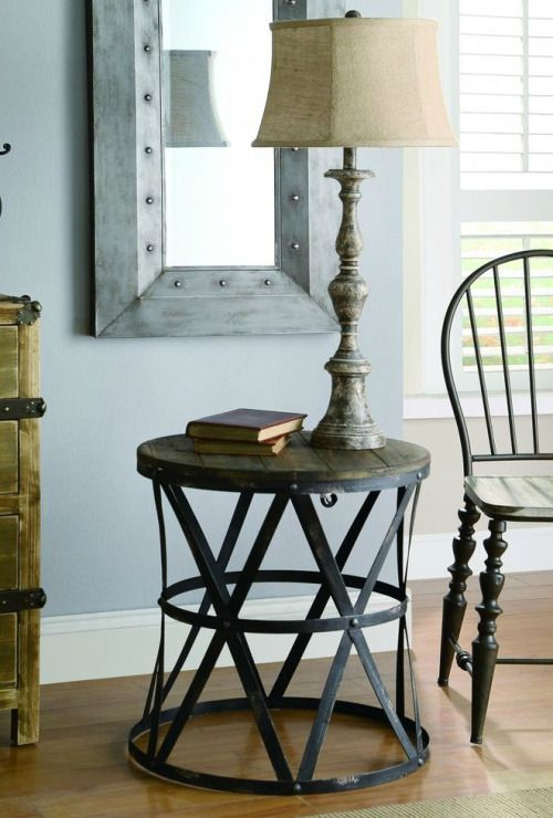 Add an industrial touch to your living area with the Marche Metal Side Table.