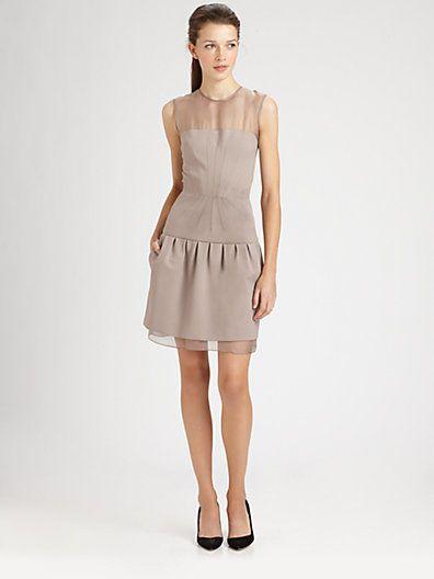 dvf sheer trim dress