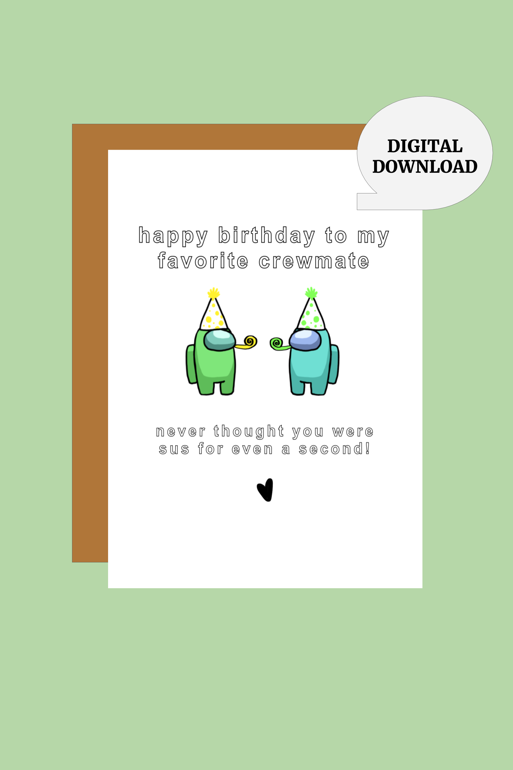 Among Us Birthday Card Printable Instant Digital Download Etsy In 2021 Birthday Card Printable Birthday Cards For Friends Birthday Cards For Brother