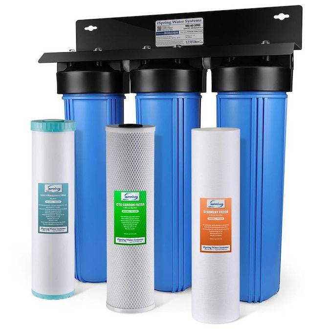 Ispring Wgb32bm 3 Stage Big Blue Water Filter Triple Stage 15 Gpm Mechanical Filtration Whole House Water Filtration System Lowes Com In 2020 Whole House Water Filter House Water Filter Water Filtration System