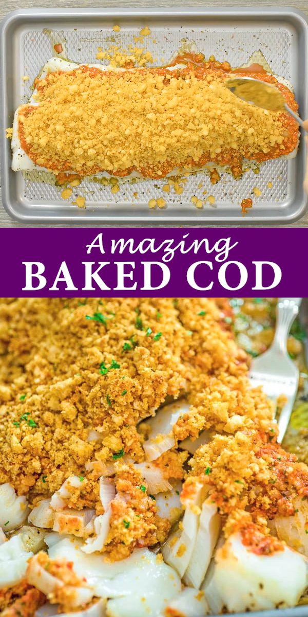 This Baked Cod recipe is truly the best you can find! Perfectly-seasoned cod, covered with a layer of roasted pepper sauce and topped with crispy breadcrumbs. FOLLOW Cooktoria for more deliciousness!