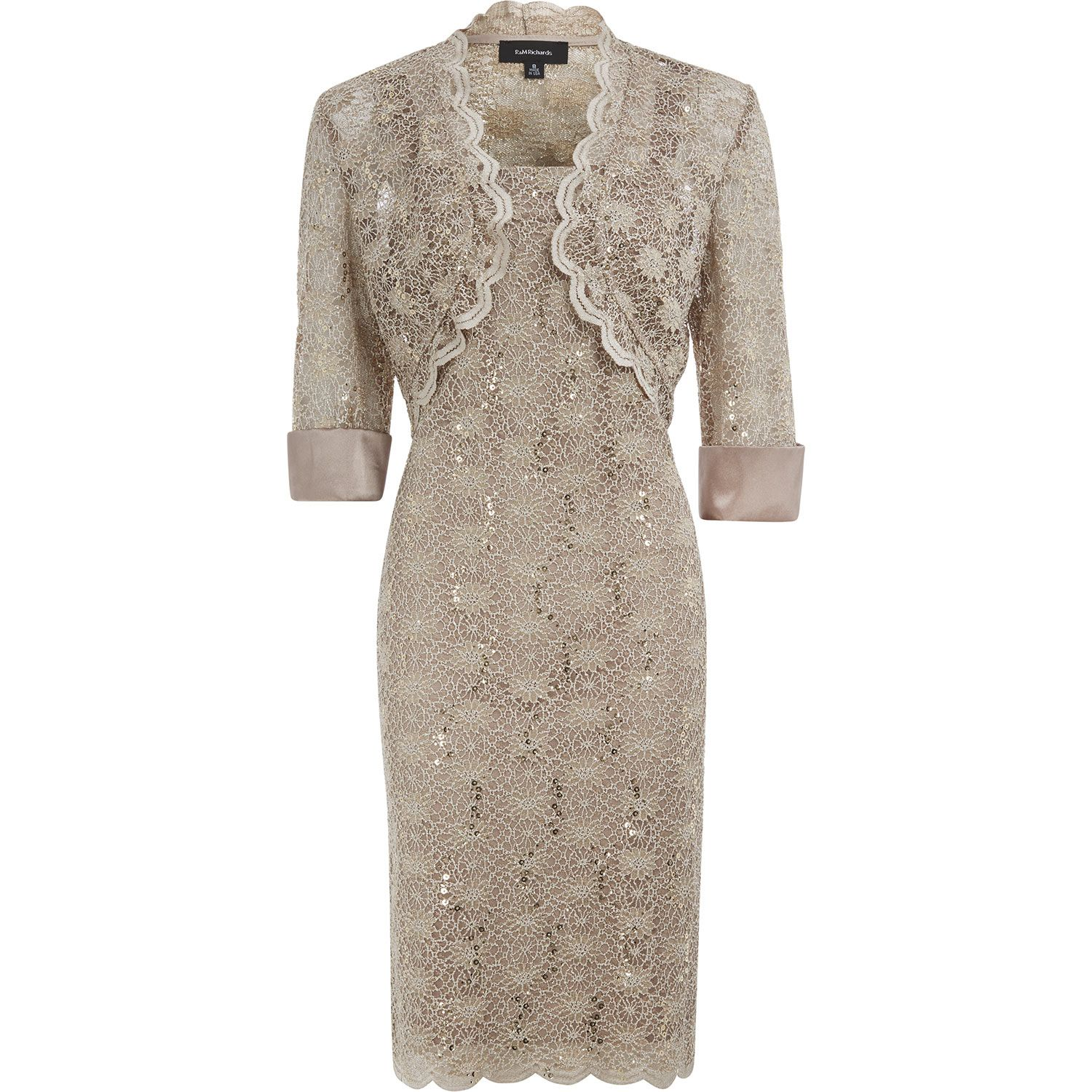RM Richards Mocha Lace Dress Jacket Two Piece