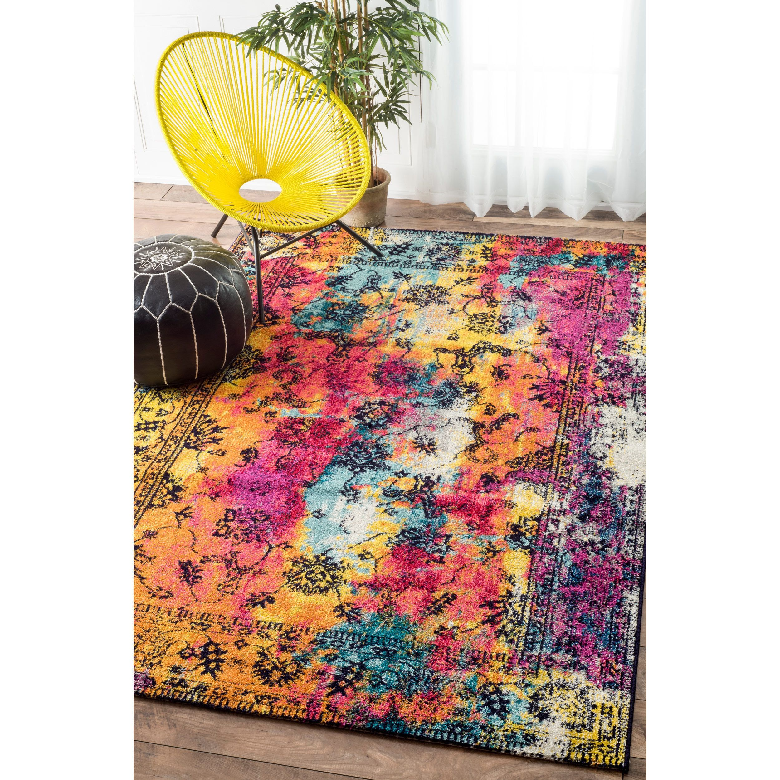 Watercolor Floral Navy Rug Floral Watercolor Navy Rug Washable