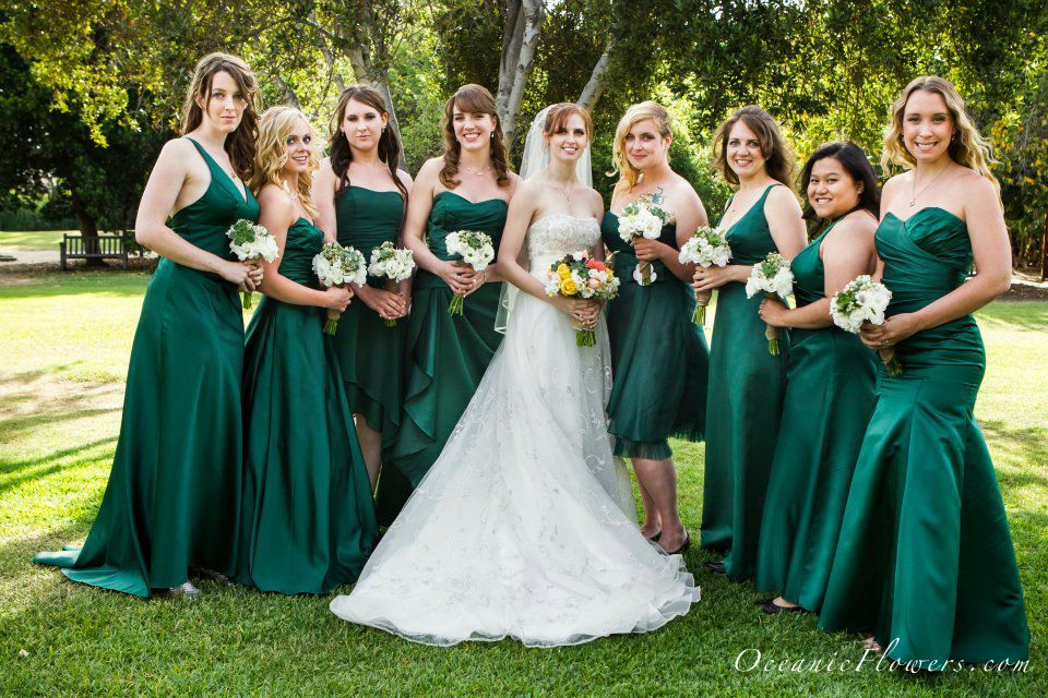 Pin By Oceanic Flowers On Wedding Pictures Dark Green Bridesmaid Dress Dark Green Wedding Green Bridesmaid Dresses
