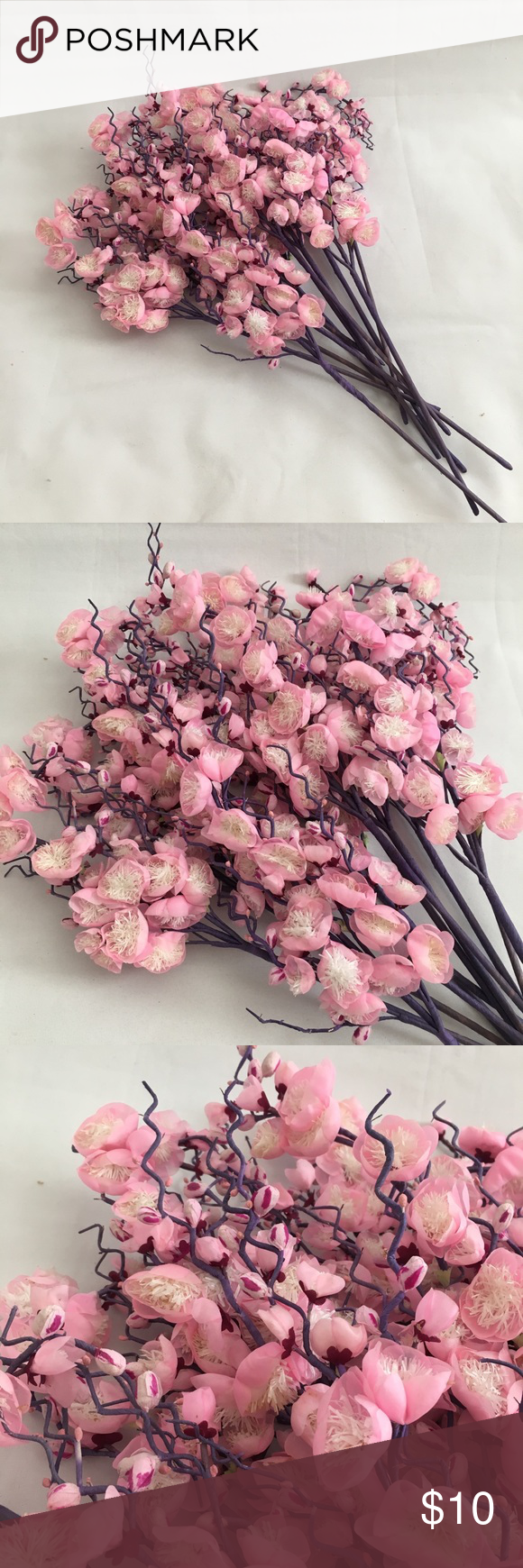 12pcs Pink Cherry Blossoms Flower Cherry Blossom Flowers Artificial Flowers Decor Artificial Flowers