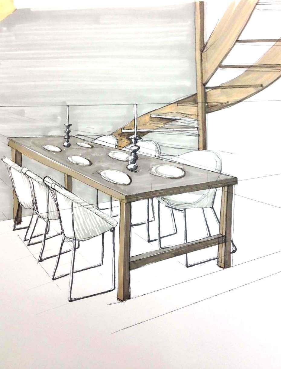 Dining room perspective drawing - Student Drawings From Freehand Perspective Drawing For Designers