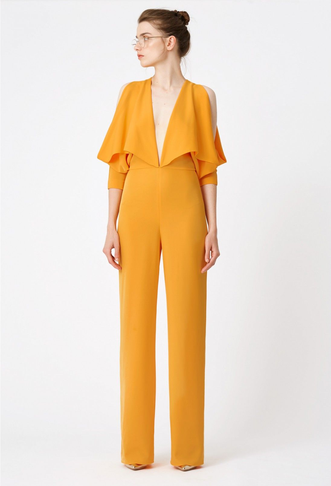 a2537026e897 AQ AQ Larissa Deep Plunge Wide Leg Jumpsuit · Orange