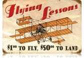 Vintage-Retro Flying Lessons Metal-Tin Sign