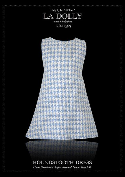 LA DOLLY 'CONE SHAPED SLEEVELESS MOD DRESS WITH BUTTON' Linton Tweed® - houndstooth light blue