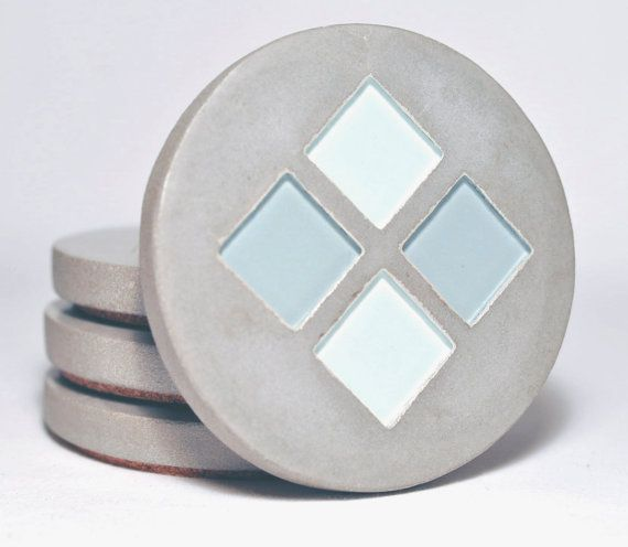 Concrete coasters with tile inlay by studiohr on etsy 32 for How to make concrete coasters