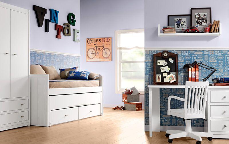Idea Para Combinar Papel Pintado Y Pintura Y Color De La Parte Textil Muebles Dormitorios Mobiliario