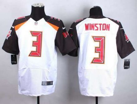 869d6297b Men s Tampa Bay Buccaneers  3 Jameis Winston White Stitched Nike NFL New  Elite Jersey
