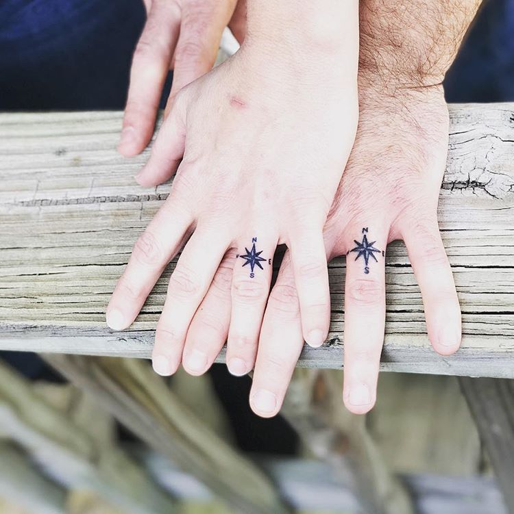 Nautical Compass with letters on a finger...challenge accepted. This couple got married today and I was lucky to play a part! #Tattoo…