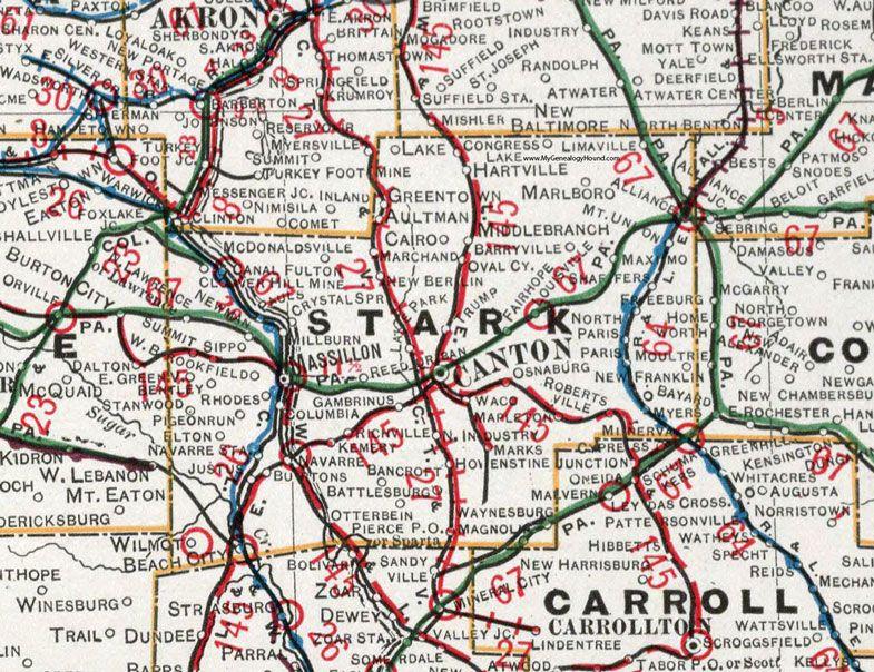 Stark County, Ohio, 1901, Map, Canton, Massillon, Reedurban