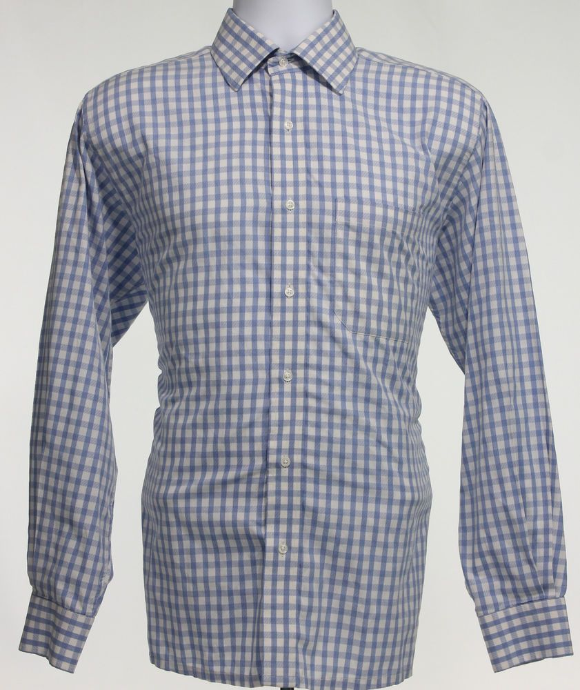 Gingham shirt medium dress check blue men business mens plaid white
