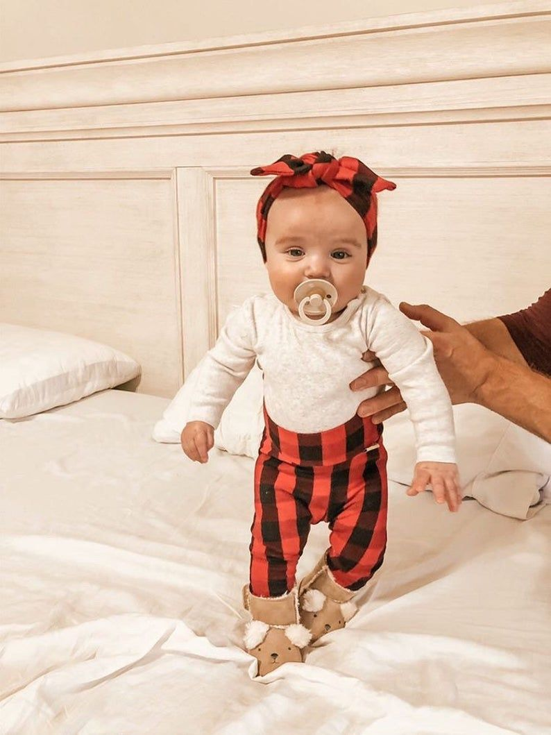 Photo of Red Buffalo Plaid Leggings and Top Knot Headband Set, Baby Girl Christmas Outfit, Newborn Coming Hom