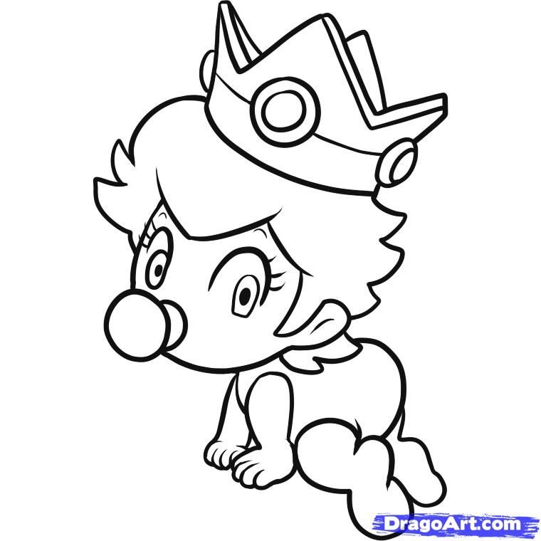 How To Draw Baby Peach Step 6 Mickey Coloring Pages Baby Drawing Coloring Pages
