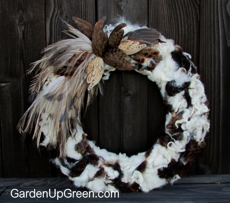 Photo of Natural Wreath made of Fiber and Feathers – Garden Up Green