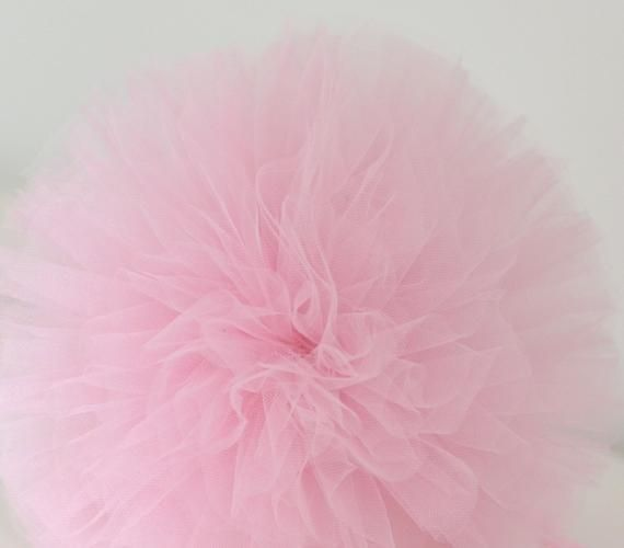 Baby pink tulle pom poms | tutu party decor | large tulle balls