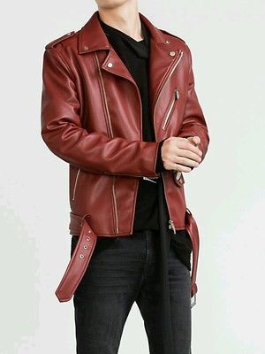 933a80a8 ZARA MAN BIKER JACKET FAUX LEATHER RED ZIPS BELT BORDEAUX SIZES M L 0706/332
