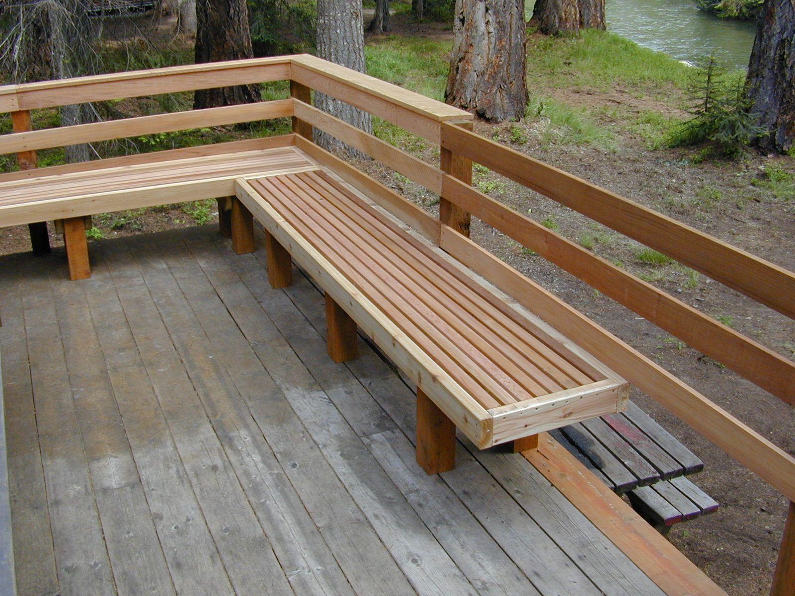 Deck bench railing visit more deck railing ideas http for Outdoor deck plans