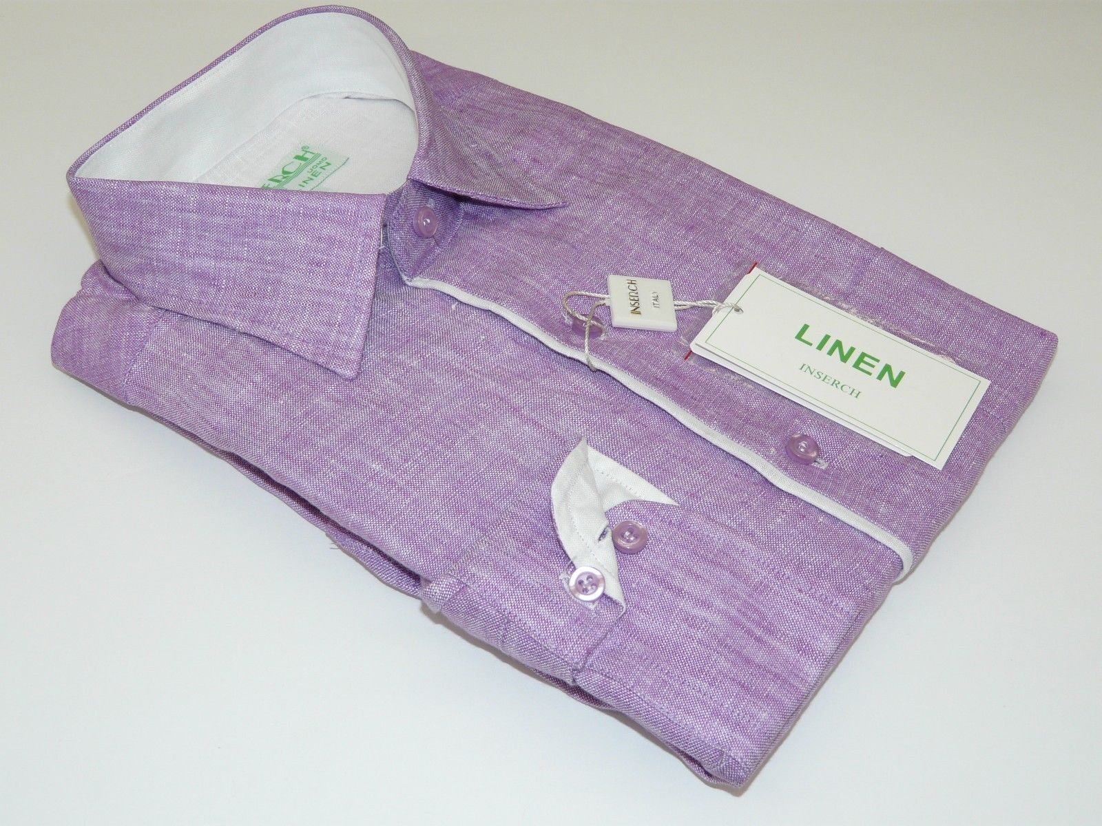 Mens Inserch Linen Shirt Long Sleeves High Quality Summer Cool 24116 Lavender | eBay