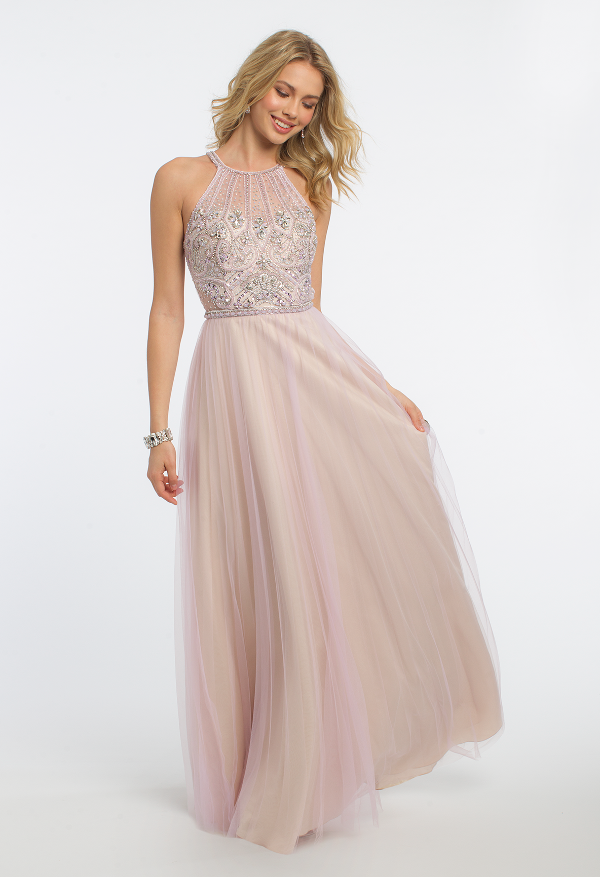 Glide Through The Night Looking Effortlessly Gorgeous In This Long Prom Dress With Its Halter Illusion Neckline Fitted Chic Cocktail Dress Dresses Prom Heels [ 1732 x 1184 Pixel ]