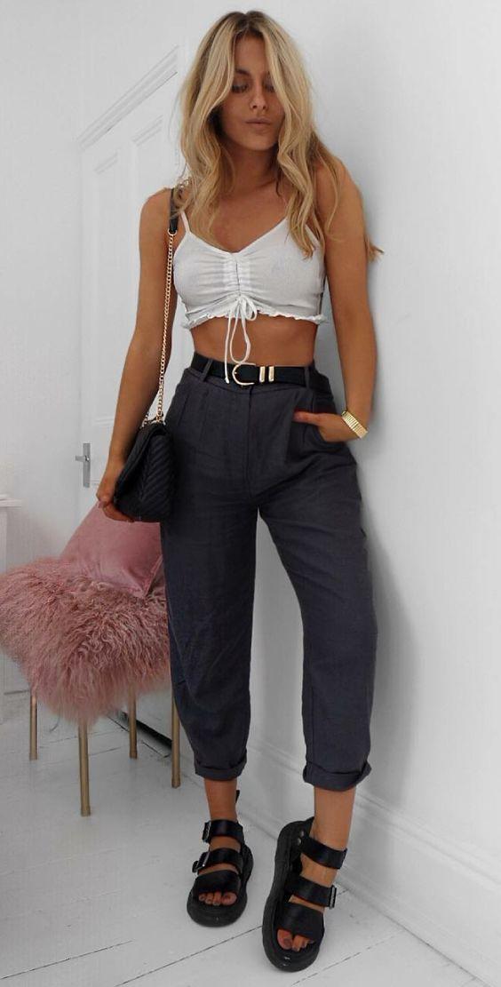 0eafdf55a Looks com cintura marcada por Lydia Rose. Cropped branco com lacinho