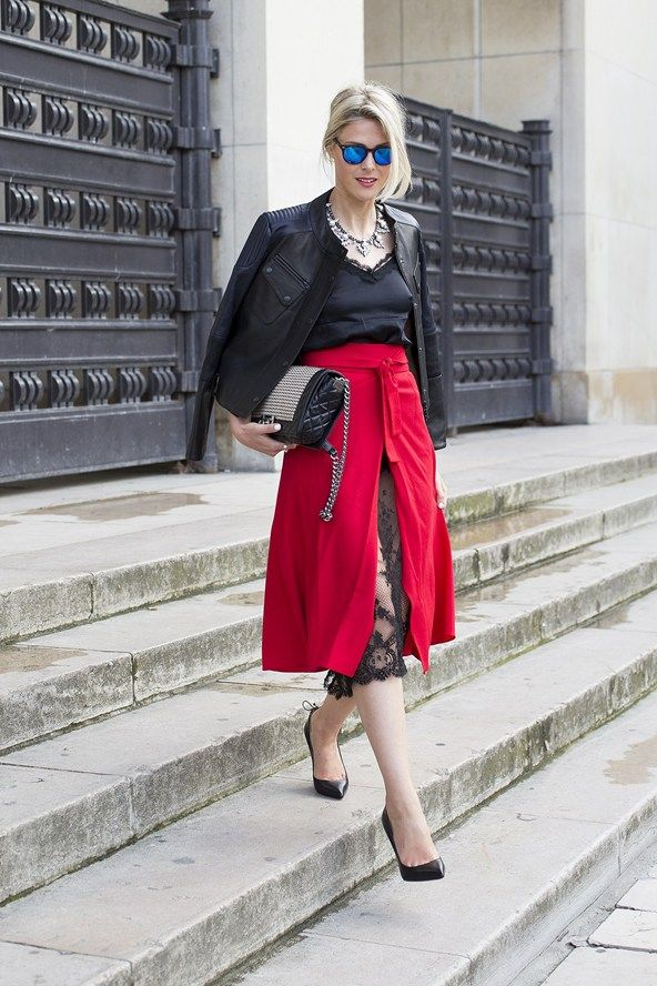 Kal Mankovich skirt and top, Barbour jacket, Chanel bag, and Christian Louboutin heels..