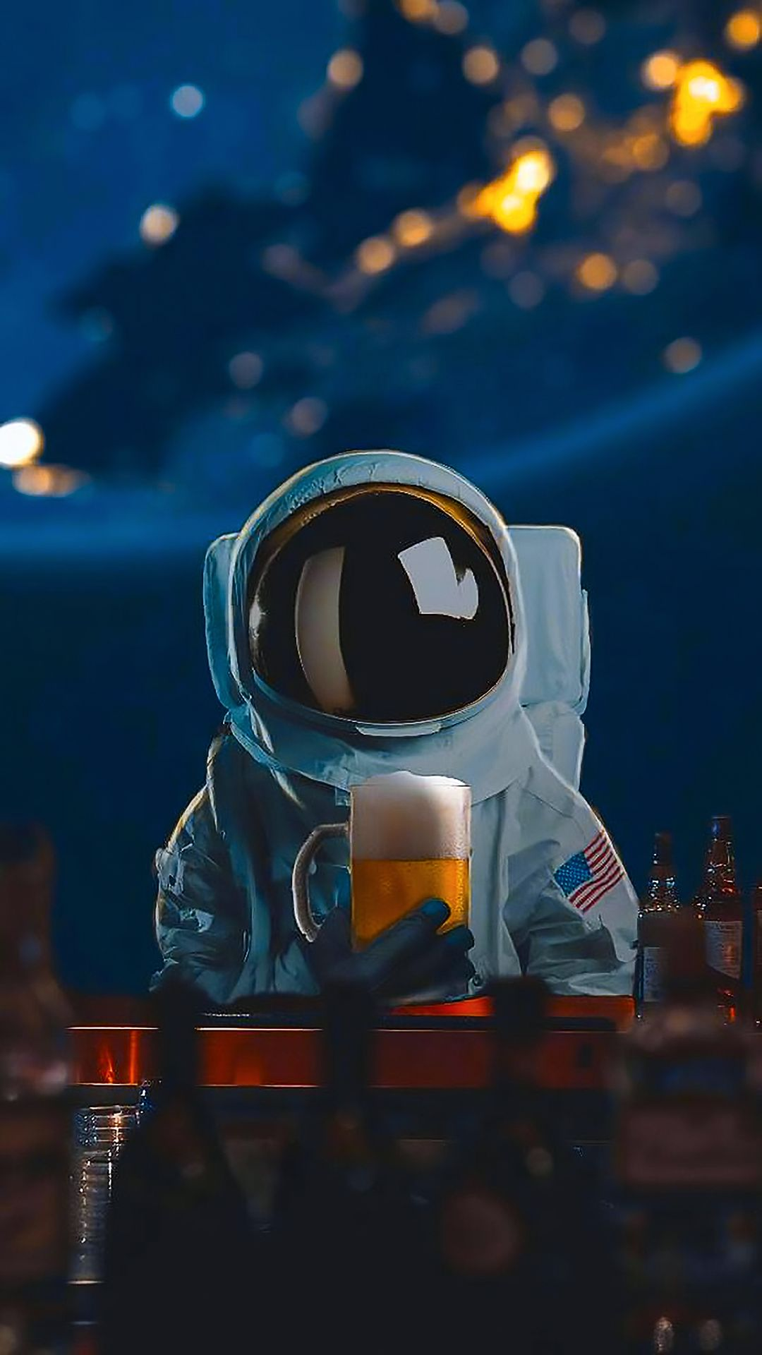 Mysterious Pilot Drinking Beer In Outer Space Astronaut