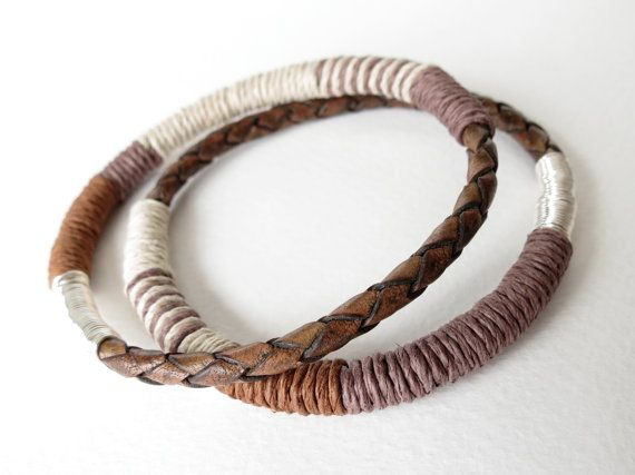 2x braided leather and hemp bangles in by MirasBeadBoutique, £11.00