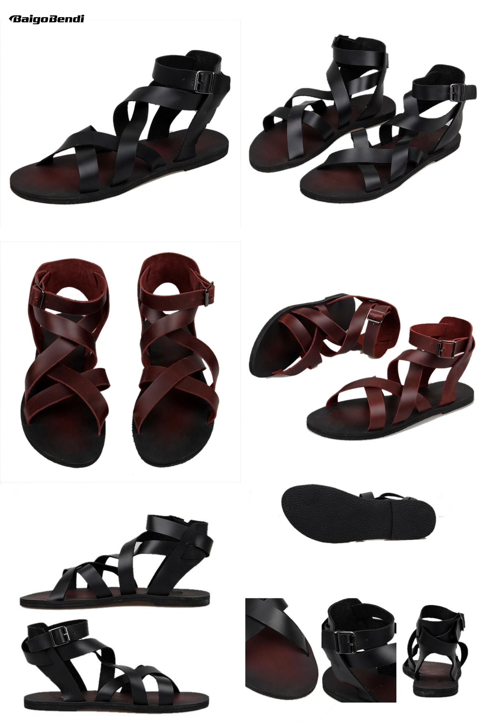 25a8971aa3b3  Visit to Buy  New Summer Men Buckle Strap Beach Shoes Roman Gladiator  Cross-