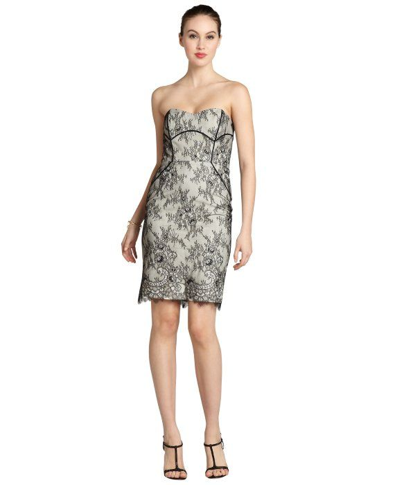 Badgley Mischka Black And Cream Lace Strapless Dressmaybe