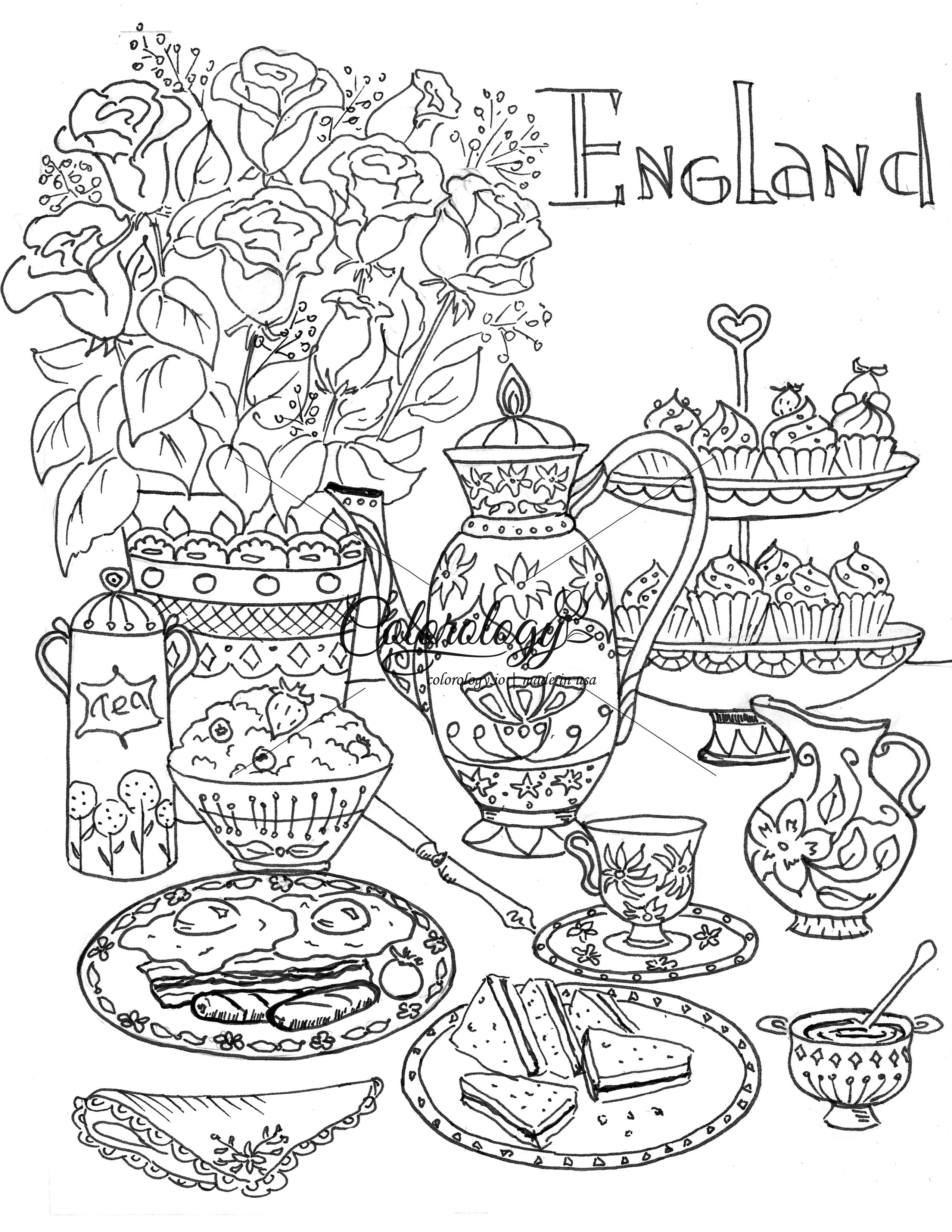 england  meals around the world  coloring pages flag