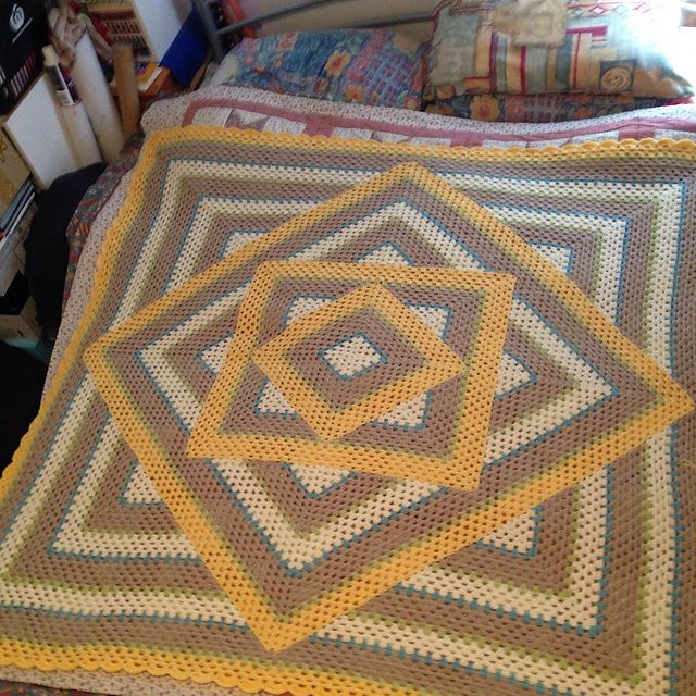 Ravelry Project Gallery For Squared Diamond Granny Throw Pattern By