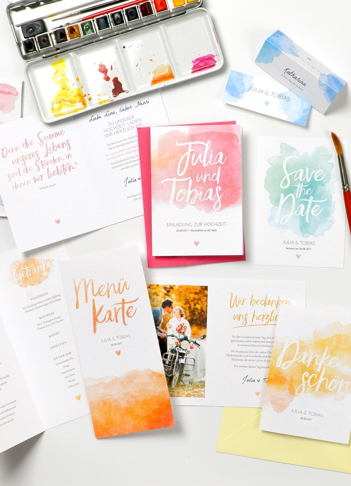 Pastel Aquarelle Karte Hochzeit Hochzeitskartendesign Und