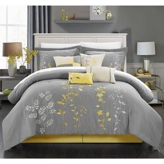 Porch & Den Holly Grey 8-piece Comforter Set (Yellow/Silver/Off-White - King), Beige