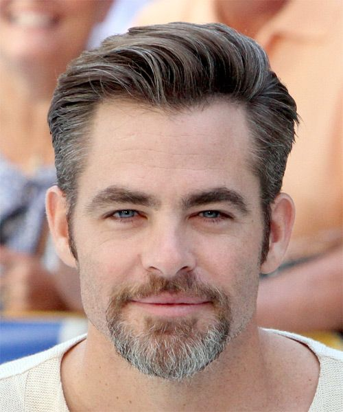 Chris Pine Short Straight Formal Hairstyle Brunette Hair Color In