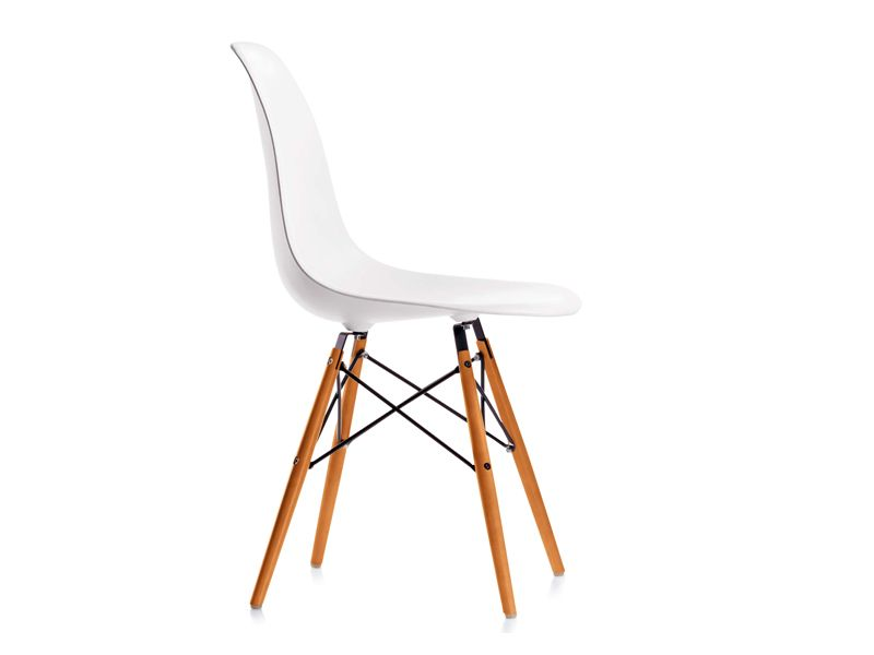 Vitra dsw eames plastic side chair golden maple base for Replica vitra eames