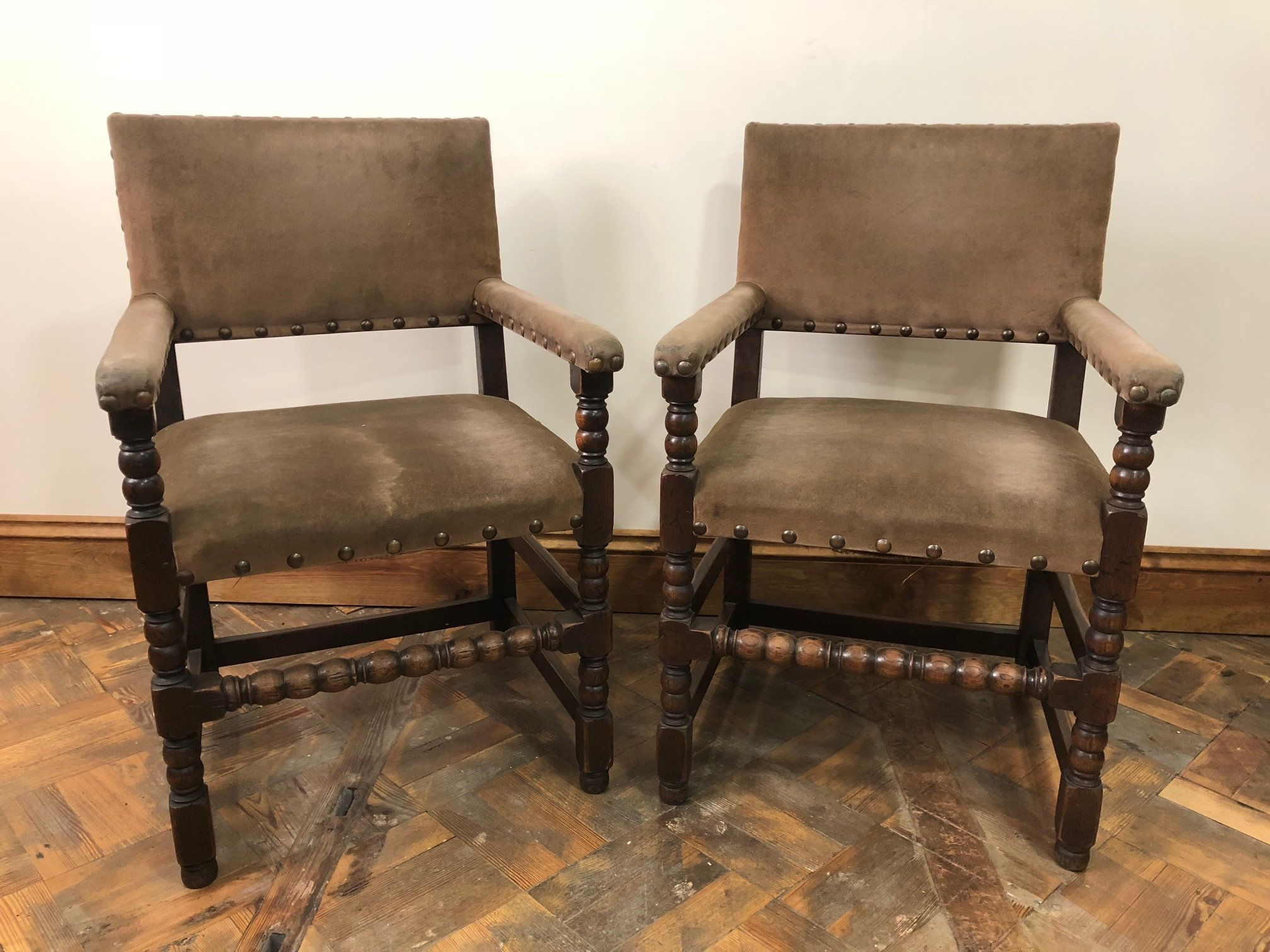 Set of Eight 17th Century Style Armchairs