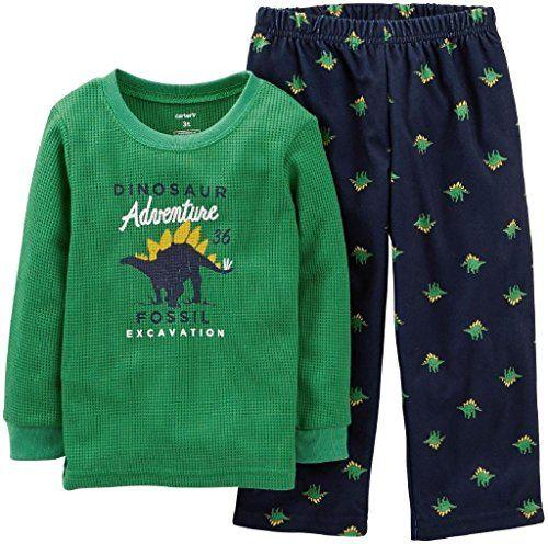 Carter's Baby Boys' 2 Piece Pant PJ Set (Baby) - Dinosaur - 12 Months. L/S Pant PJ Set.