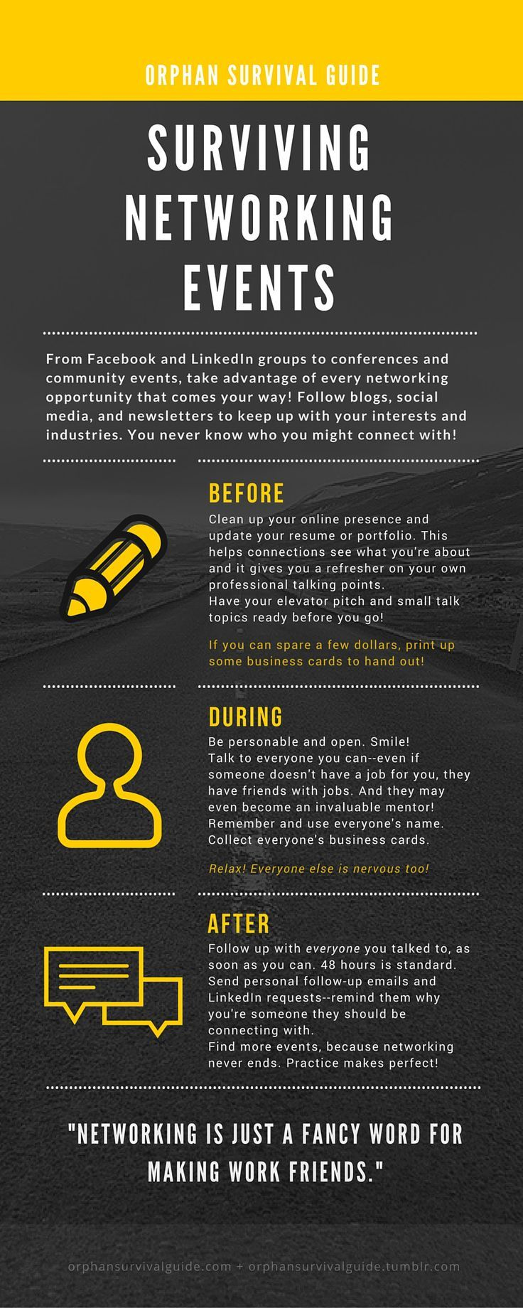 orphan survival guide - surviving networking events tips infographic ...