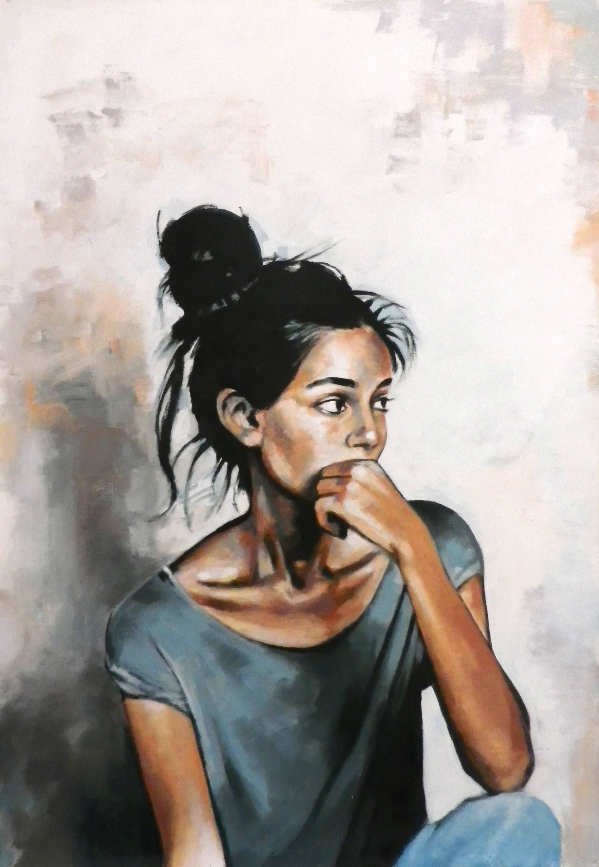 "Saatchi Art Artist: Thomas Saliot; Oil 2015 Painting ""Nice girl looking at her boyfriend and wondering how to dump him (sold)"""
